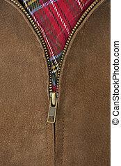 revestimento couro, bronze, zipper, unzipped