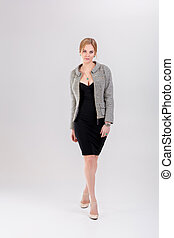 revestimento preto, vestido, bonito, cinzento, negócio mulher, loiro