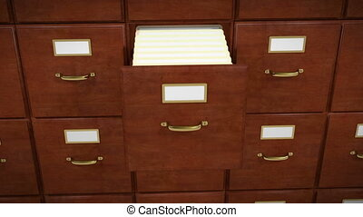 File Folder coming out of a file cabinet and revealing a document, then going back into its place