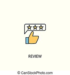 review concept 2 colored line icon. Simple yellow and blue element illustration. review concept outline design