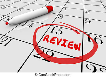 Review Evaluation Assessment Feedback Day Date Calendar 3d Illustration