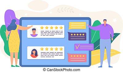 Review feedback vector illustration. Cartoon tiny people ...