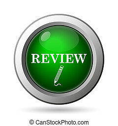 Review icon. Internet button on white background