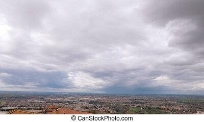 Review panorama. Tivoli, Italy. Time Lapse