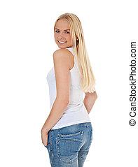 Review - Attractive teenage girl looking over her shoulder....