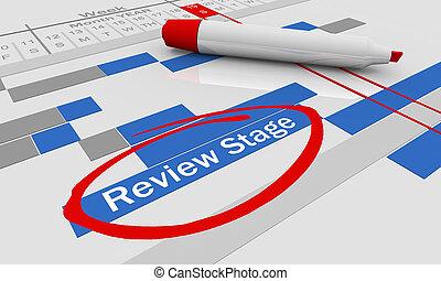 Review Stage Assessment Evaluation Gantt Chart 3d Illustration