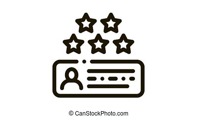 Review Stars Icon Animation. black Review Stars animated icon on white background