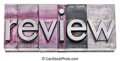 review word abstract in gritty letterpress metal type
