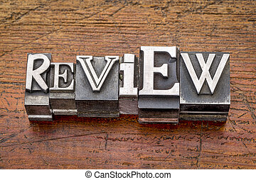 review word in metal type - review word in mixed vintage ...