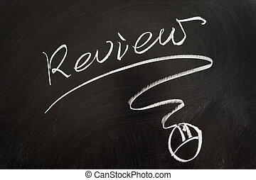 Review word and mouse symbol drawn on the blackboard
