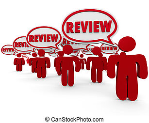 Review Word Speech Bubbles People Commenting Critic Feedback