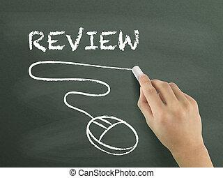 review word written by hand on blackboard