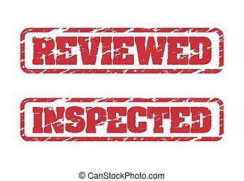 Reviewed and inspected rubber stamps on white background