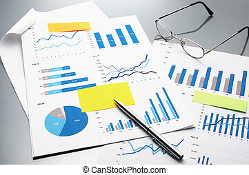 Reviewing financial reports. Graphs and charts.