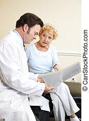 revisões, médico, chiropractor, história