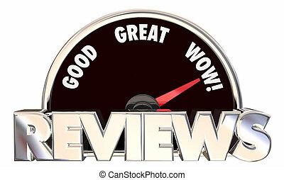 revisões, realimentação, ratings, bom, grande, wow, velocímetro, 3d, palavras