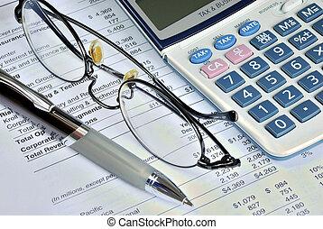 revisar, a, relatório financeiro, de, um, companhia