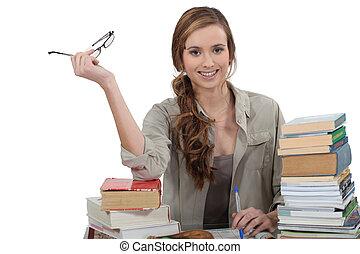 revisar, aluno feminino