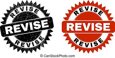 Black rosette REVISE seal stamp. Flat vector grunge stamp with REVISE title inside sharp rosette, and original clean template. Watermark with grunge style.