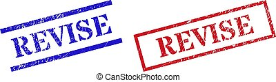 Grunge REVISE rubber stamps in red and blue colors. Stamps have rubber texture. Vector rubber imitations with REVISE badge inside rectangle frame, or parallel lines. Design style uses dirty surface.