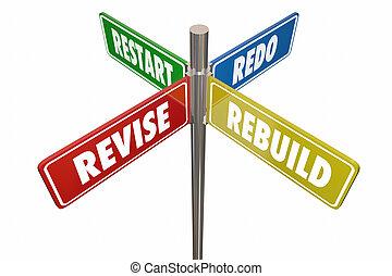 Revise Rebuild Restart Redo Road Signs 3d Illustration