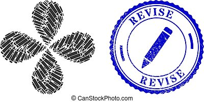 Pencil curl composition, and blue round REVISE grunge stamp seal with icon inside. Element flower with 4 petals composed from oriented pencil symbols. Vector flower collage in flat style.