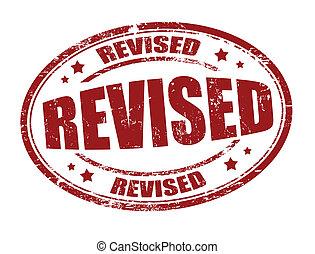 Revised stamp - Revised grunge rubber stamp on white, vector...