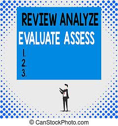 revisión, analizar, assess., grande, reacción, significado, señalar, joven, dos, aislado, hombre, evaluar, posición, rectangle., concepto, evaluación, texto, hacia arriba, perforanalysisce, escritura, manos, proceso, vista