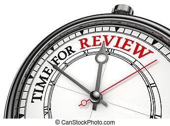 revisión, concepto, reloj de tiempo