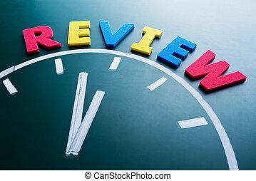 revisión, concepto, tiempo
