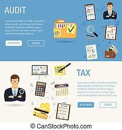 revisión de cuentas, contabilidad, banderas, impuesto, ...
