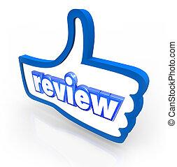 revisión, palabra, pulgares arriba, comentario,...