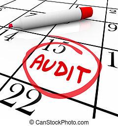 revision, finanziell, budget, buchen verwahrung, steuer, tag, datum, kalender