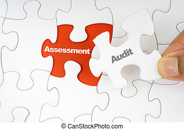 revision, wort, assessment., puzzel, stichsaege, hand holding, stück