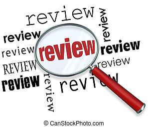 revisione, lente ingrandimento, parole, reccommendations,...