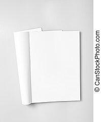 revista, abierto, páginas, blanco