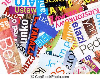 revista, -, incompleto, palavras, cuttings
