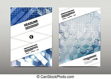 revista, livreto, modelo, desenho, cobertura, folheto, fundo, vetorial, voador, esquema, abstratos