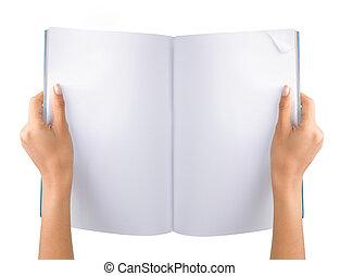 revista, mano abierta, blanco