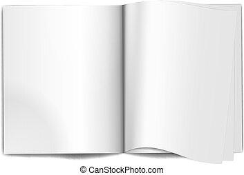 revista, páginas, em branco