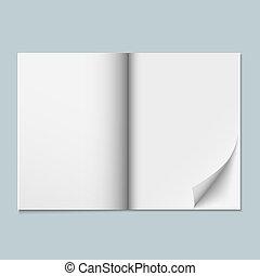 revista, páginas, plantilla, blanco
