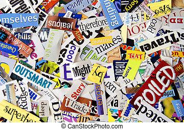 revista, palabra, recorte, plano de fondo