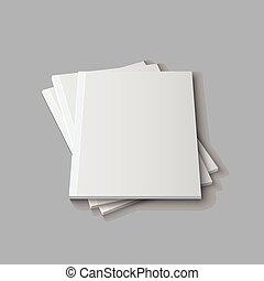 revista, vacío, plantilla, blanco
