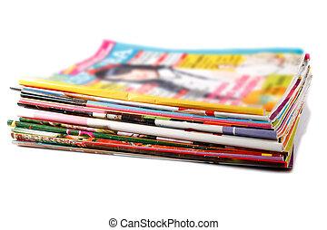 revistas, antigas, pilha, colorido