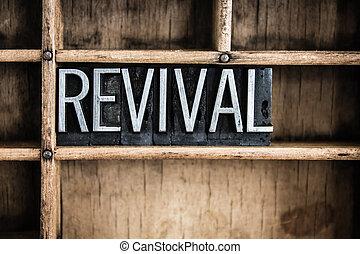 revival, concetto, metallo, letterpress, parola, in,...