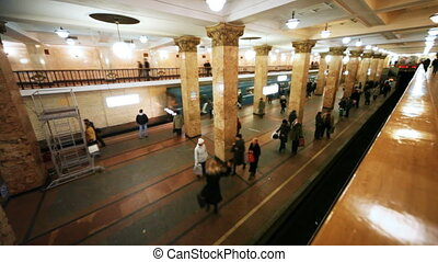Revival of passengers on subway and train arrives at station, part1