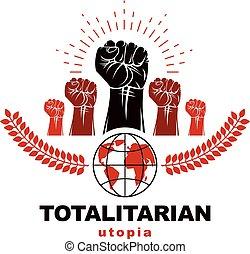 revolução, globe., pessoas, direitos, luta, idea., seu, demonstração