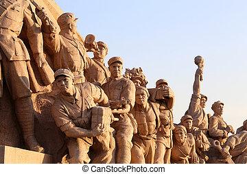 revolucionario, cuadrado de tiananmen, estatuas, china,...