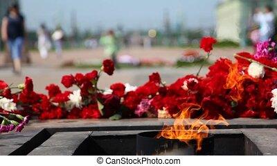 revolutie, slachtoffer, vuur, eeuwig, namiddag, monument, brandwonden
