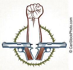 Revolution and Riot aggressive emblem or logo with strong clenched fist, vector tattoo, anarchy and chaos, rebel partisan and revolutionary.
